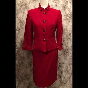 Tahari red two piece skirt suit